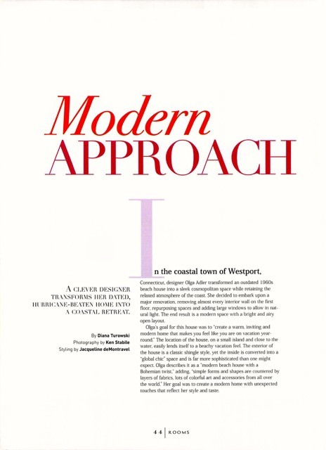Modern Approach in Rooms Magazine feature from Delray Beach interior designer Olga Adler Interiors